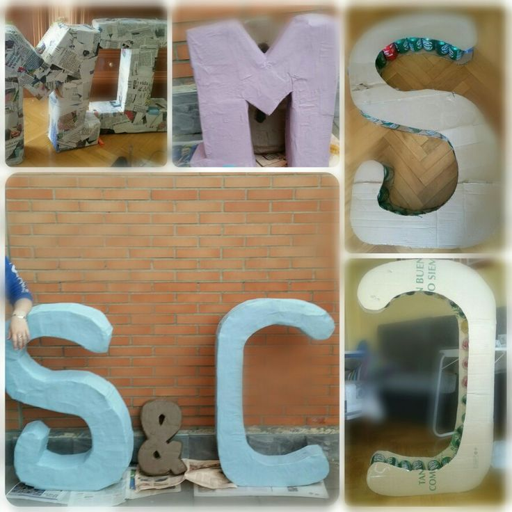 Letras hechas 100% a mano con productos cotidianos! Viva el reciclaje!!