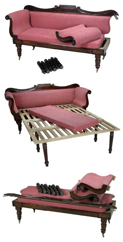 This mahogany Campaign Sofa Bed is designed to easily come apart for travel. c. 1830