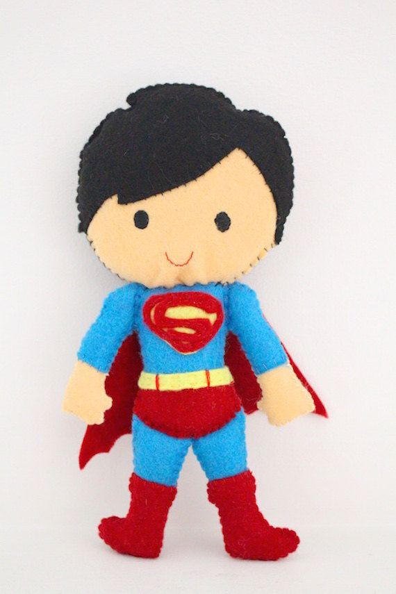 Superman superhero felt toy / doll for super kids by LaLaLaDesigns on Etsy