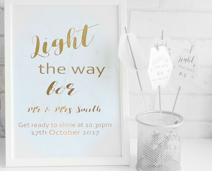 Light the way sparkler Wedding Sign, Foiled Wedding Sign, wedding foiling, Sign for sparklers, celebration print, Foiled print by KraziCrochet on Etsy