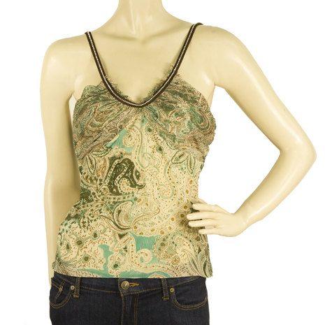 Liu Jo Khaki Beige V Straps w. Crystals Cami Tank paisley Floral Silk Top s. 44