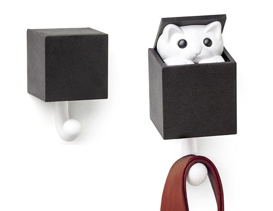 Kitt-a-Boo Peeping Cat Wall Hook | CUTE ALERT! This little box has a cat tail protruding from the bottom. When you mount the box to the wall and hang something on the tail, kitty pops out of the top! How cute is that?