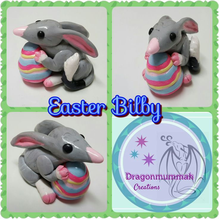Easter bilby made from polymer clay www.facebook.com/dragonmummah