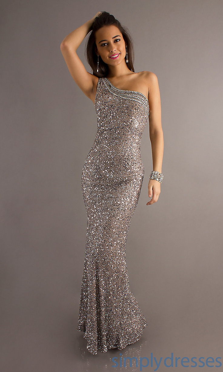 Long One Shoulder Sequin Dress, Scala Prom Gowns Simply