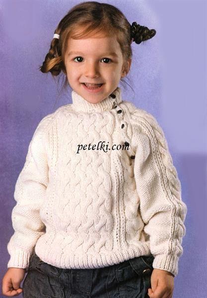 Вязание свитера для девочки реглан