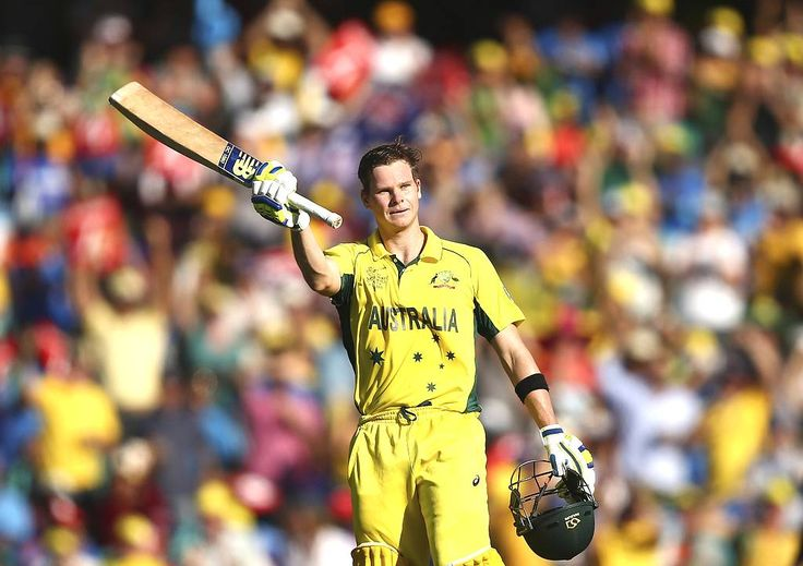 Steve Smith of Australia celebrates after reaching his century  during the 2015 Cricket World Cup Semi Final match between Australia and India at Sydney Cricket Ground on March 26, 2015 in Sydney, Australia.