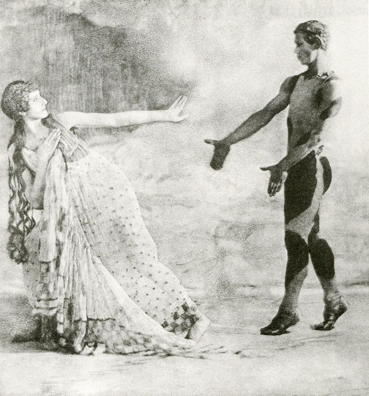 Vaslav Nijinsky as the Faun in the ballet 'The Afternoon of the Faun ', choreographed by Nijonsky himself for the Ballets Russes and first performed in the Théâtre du Châtelet in Paris on 29 May 1912. As its score it used the Prélude à l'après-midi d'un faune by Claude Debussy .. Youtube : https://www.youtube.com/watch?v=Vxs8MrPZUIg
