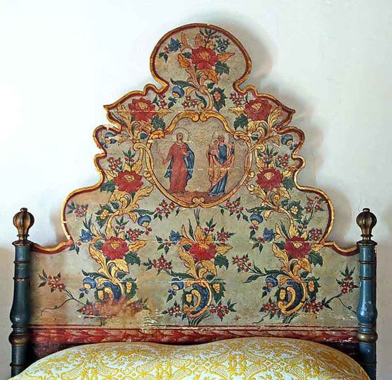 Antique painted headboard
