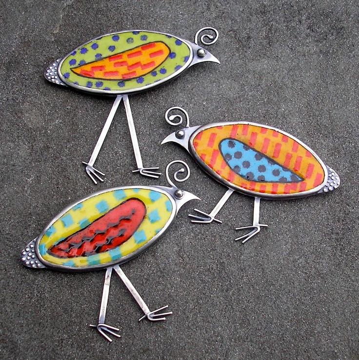 Bird Brooch. Long Legged Quirky Quail Colorful Enamel Brooch. $225.00, via Etsy.