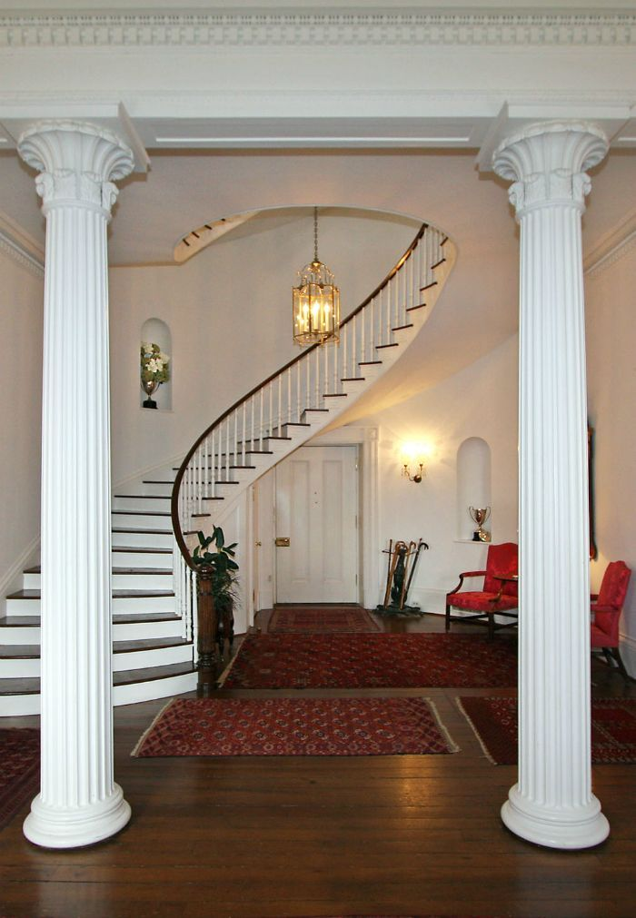 The Grand Hall of the historic house at Long Branch Plantation.