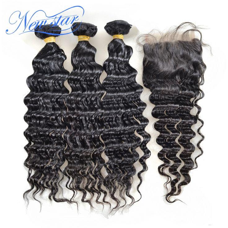 New star pelo brasileño de la virgen profunda brasileña del pelo con cierre wave 3 paquetes con una parte libre cordón de la onda profunda cierre
