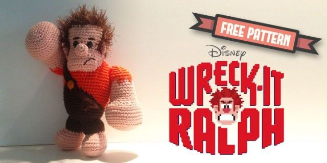 Free pattern – Ralph from Disney's Wreck it Ralph #amigurumi #crochet