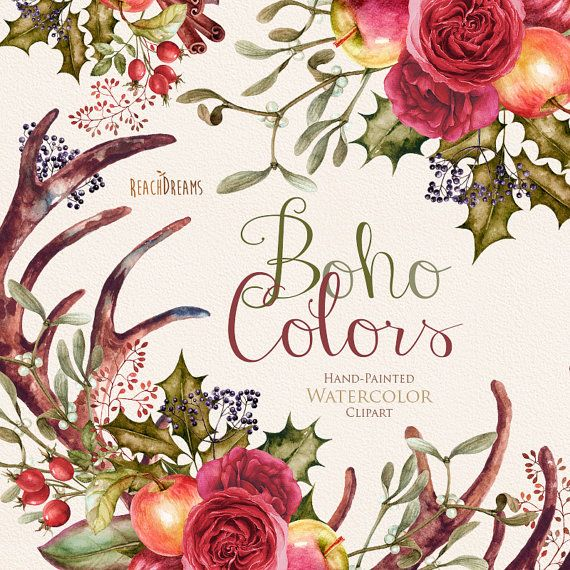 Hey, I found this really awesome Etsy listing at https://www.etsy.com/listing/255595045/watercolor-boho-clipart-flowers-wreath