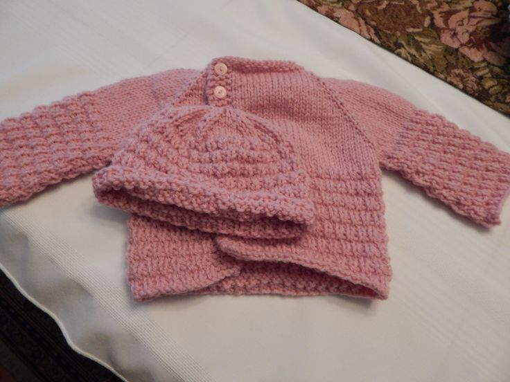 3 months girl's sweater & matching hat for charity