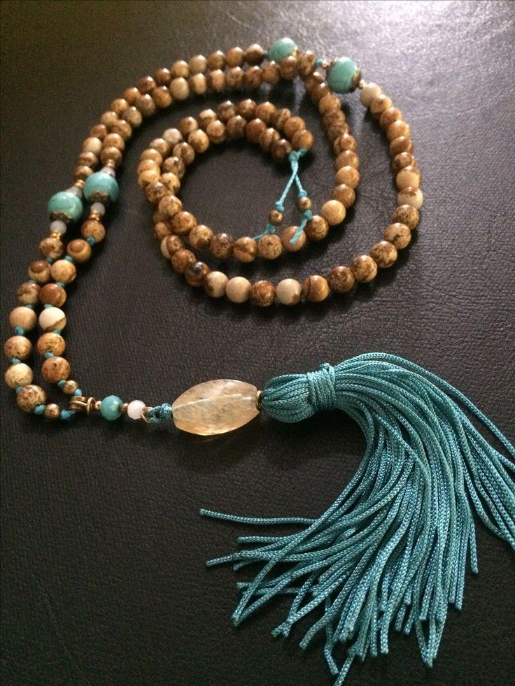 Jasper and turquoise japamala 108 beads