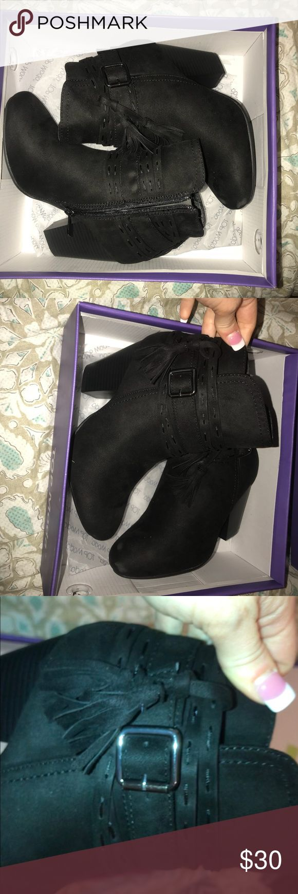 Fall black booties! WORN ONCE I only wore this once but I have sooo many pairs of booties so I decided to get rid of these my loss your gain! They're sooo cute! Size 6 I put Charlotte rousse but these are from a boutique ! Charlotte Russe Shoes Ankle Boots & Booties