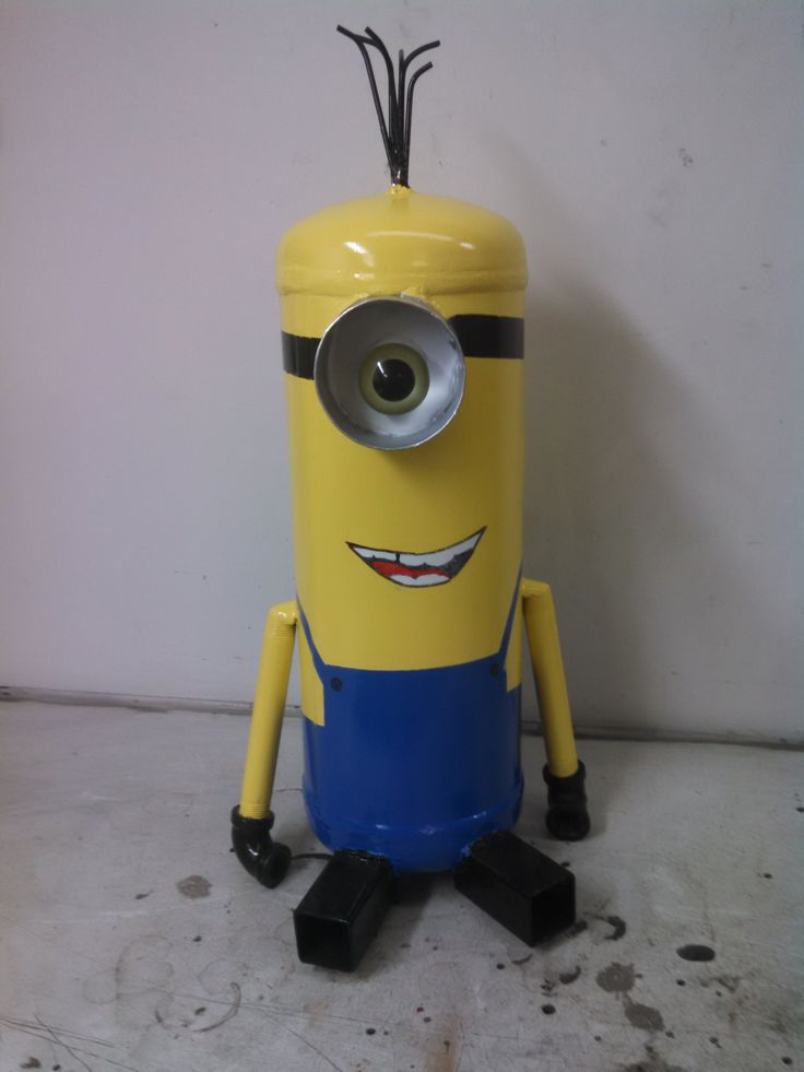 Minion made out of an old air compressor tank