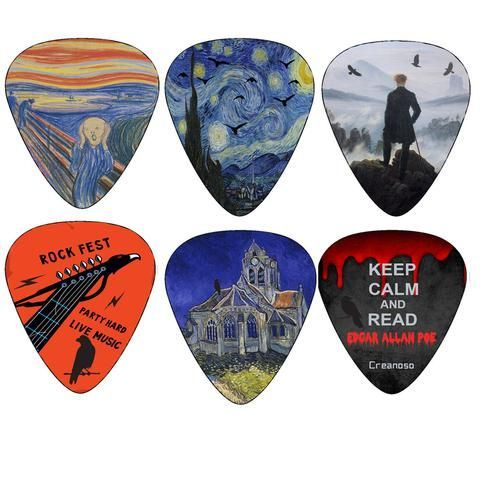Creanoso Horror Guitar Picks - Medium Celluloid 12-Pack - Van Gogh, Edvard Munch Painting Art Plectrum - Best Guitar Gifts