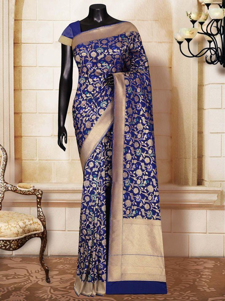 Navy Blue Katan Silk Patola Brocade Banarasi Handloom Saree