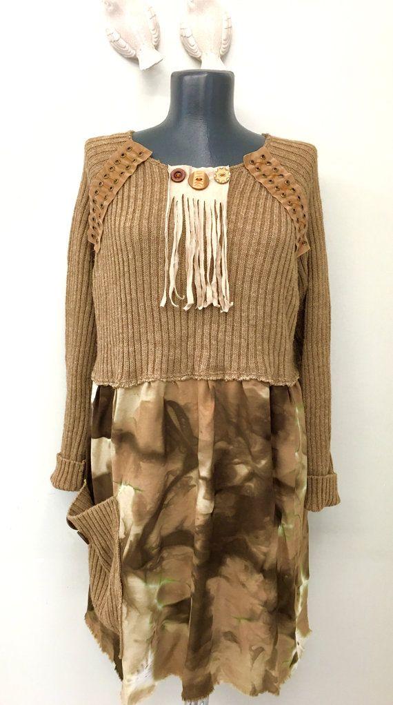 VERKOOP Boho Upcycled kleding Upcycled jurk Upcycled gerecycleerd voorzien kleding trui jurk Wearable Art Lagenlook zigeuner kleding