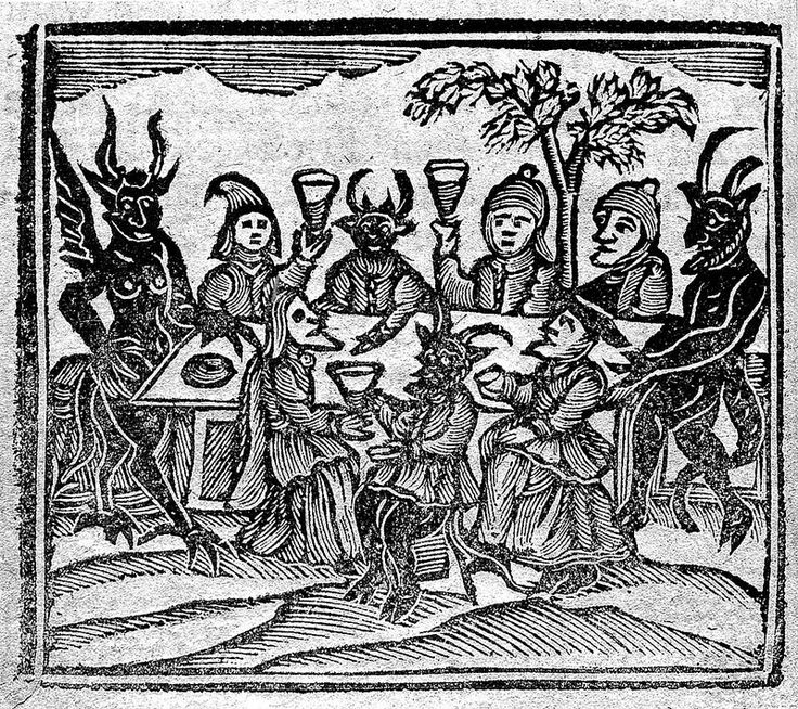 Witches feasting, featured in The History of Witches and Wizards (1720) — Source (Wellcome Library)