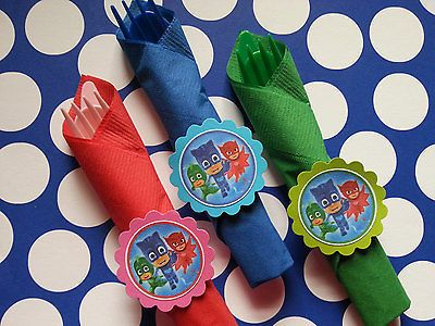 16 PJ Masks birthday party utensil sets, party tableware, party supplies