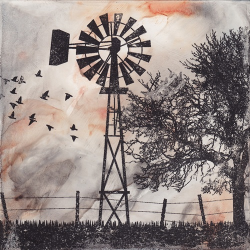 An American Morning - Solvent Transfer/Mixed Media 5 x 5    Cameron Kaseberg, Oregon artist