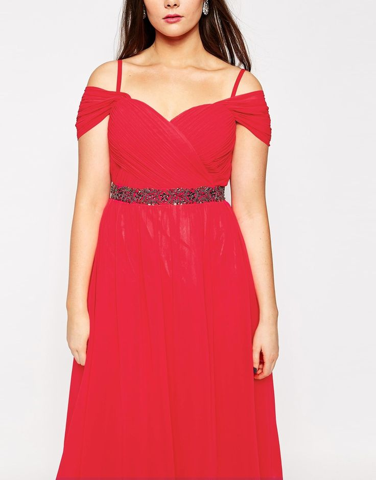 Image 3 - Little Mistress Plus - Robe de bal de fin d'année mi-longue à taille ornementée et encolure Bardot