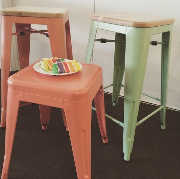 Replica Xavier Pauchard Stools with Wood tops in Orange and Retro Green