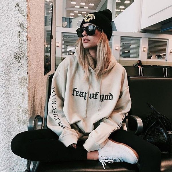 God Fear Oversized Hoodie Hooded Sweatshirt In 2020 Hoodie Fashion Hoodies Womens Hipster Outfits