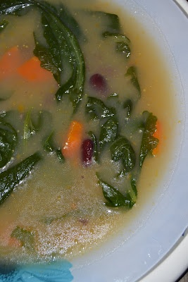 Sopa de nabiças com feijão encarnado