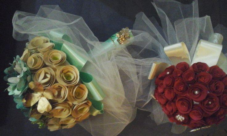 La linea bouquet per eventi si arricchisce di nuovi materiali , i fiori verde acqua ,di varie tonalita' di verde , sono statu realizzati con i contenitori di cartoncino delle uova.