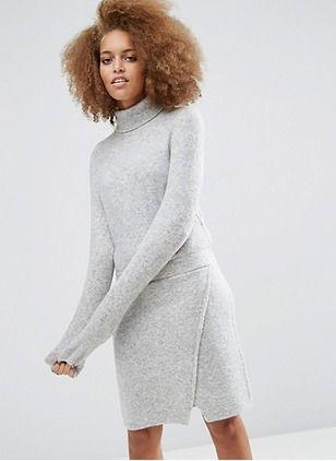 Wełna Nylon Akryl Stałe długim rękawem Powyżej kolan sukienki na co dzień