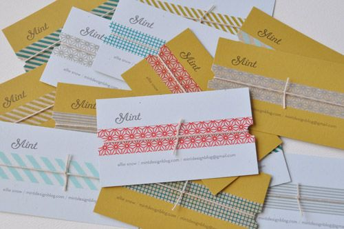 washi tape + twine business cards!Cards Ideas, Business Cards, Than, Graphics Design, Washi Tape, Diy Business, Washitape, Handmade Business, Crafts