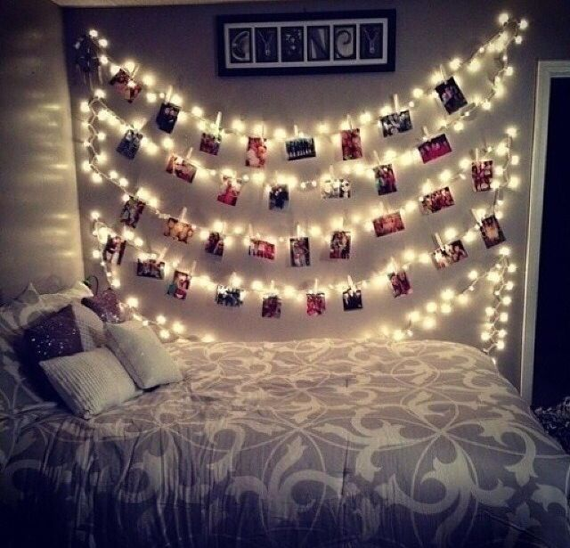Cute and easy DIY for rooms u just need close pins, pictures, and a string of lights! Super fun and easy!