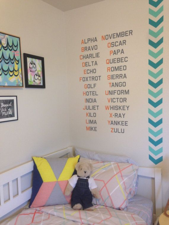 Military Baby - Phonetic Alphabet - Marines Navy Air Force Army - Nursery Decal -Vinyl wall art decal design by SeaWeeBabies for 3rdaveshore