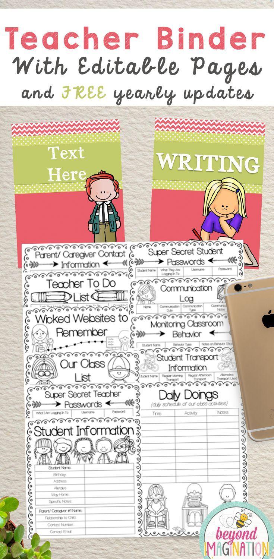 Teacher Binder Editable 2019-2020   Classroom activities