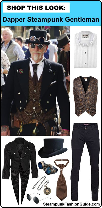 How to recreate this Dapper Steampunk Gentleman costume. Includes product and store recommendations and tips on putting it all together. Recommendations for tuxedo shirt, waistcoat, tailcoat, top hat, goggles, sunglasses, skinny jeans, tie, pocket watch. - Men's Steampunk Costumes & Clothing - For costume tutorials, clothing guide, fashion inspiration photo gallery, calendar of Steampunk events, & more, visit SteampunkFashionGuide.com