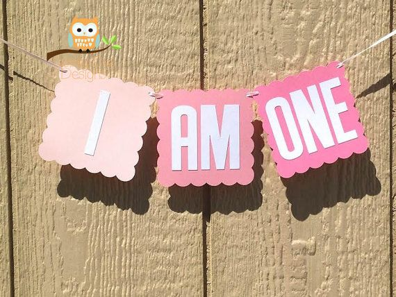 I AM ONE Ombre First Birthday Party Banner by QuirkyOwlDesigns