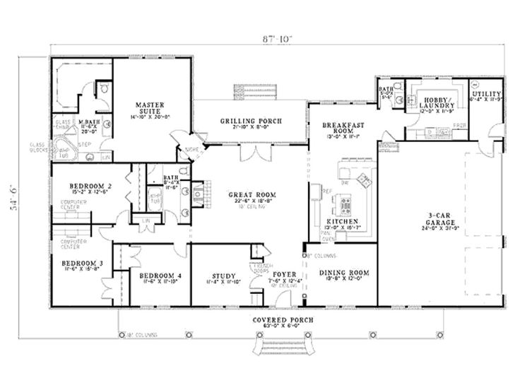 Nice floor plan with study at back of house floor plan