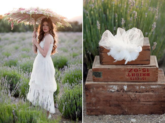 {Ruche Fall Bridal Collection + Win Dresses for Your Bridesmaids!}    Left photograph: The parasol overflowing with flowers (beautiful!) in a lavender field (I had no idea lavender grew in bushels! A nice alternative to a field.)