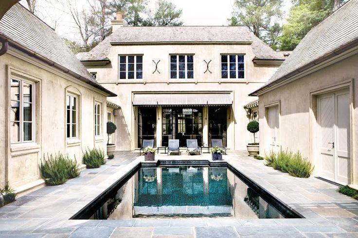 : Pools Area, Idea, Dreams Houses, Courtyards Pools, Atlanta Home, Backyard, Homes, Courtyard Pool, Design