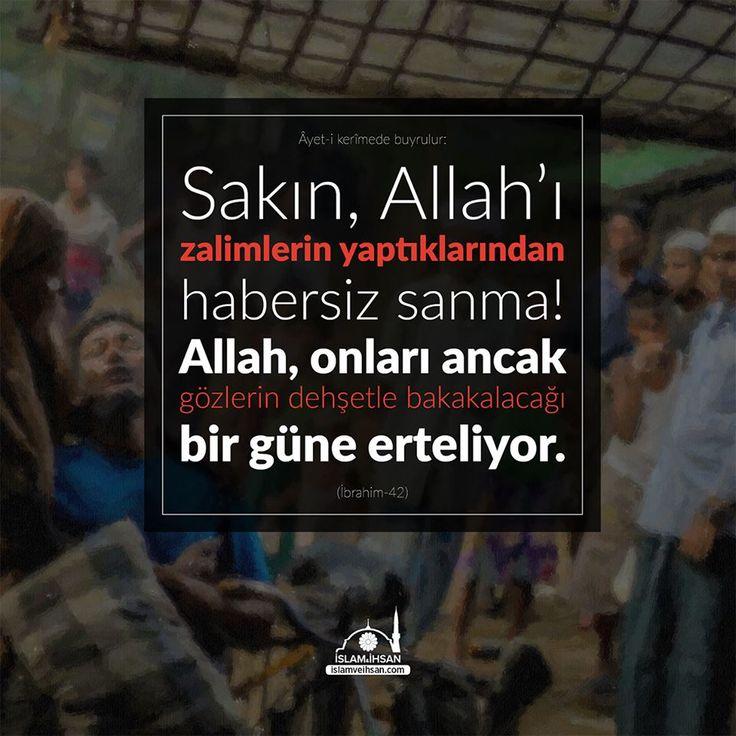 """""""Sakın, Allah'ı zalimlerin yaptıklarından habersiz sanma! Allah onları, ancak gözlerin dehşetle bakakalacağı bir güne erteliyor."""" #birayet"""