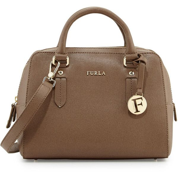 Furla Elena Small Leather Satchel Bag (730 RON) ❤ liked on Polyvore featuring bags, handbags, color dain, genuine leather purse, satchel purse, leather purse, furla purses and genuine leather handbags