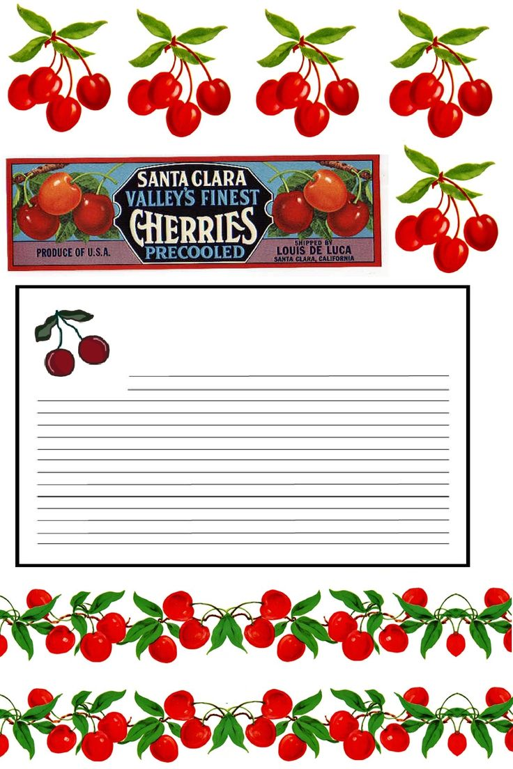 Cherries & Recipe Card Printables