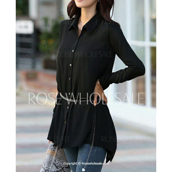 Plus Size Long Sleeve Turn Down Collar Irregular Hem Solid Color Blouse For Women