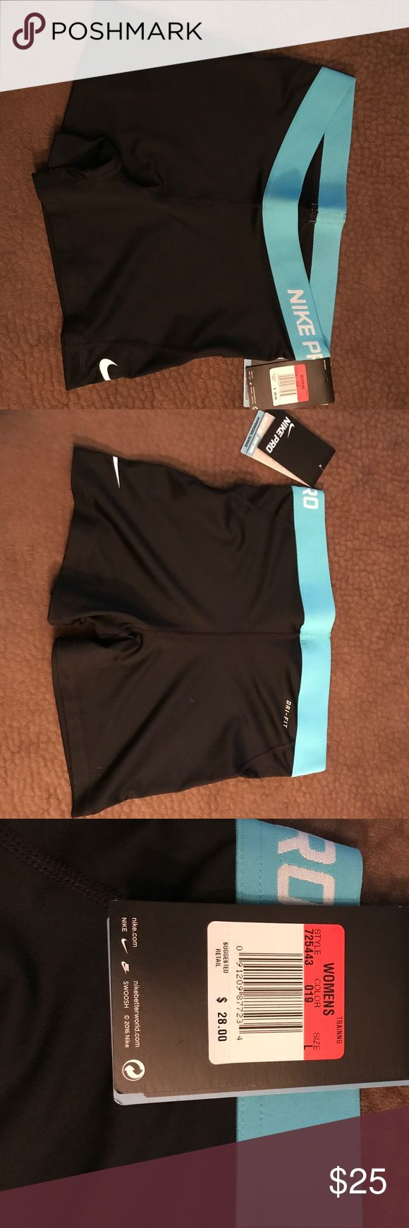 Nike compression shorts Black with blue band. BNWT. Never worn Nike Shorts