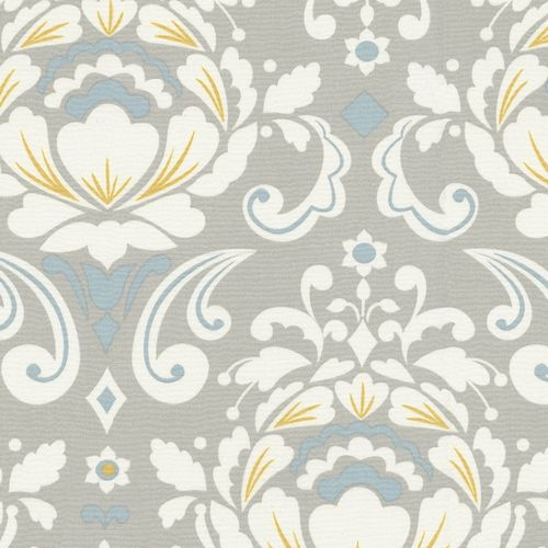 Right now I'm loving mustard, aqua, creamy white & grey... hello! perfect fabric to tie some of the rooms together, and only $9.50/yard