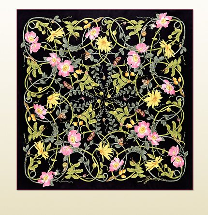 GUCCI  flower print silk foulard