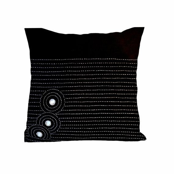 Black Linen Throw Pillows : Black linen throw pillows with Sashiko and crystals - Linen Cushion with zipper - Throw pillow ...